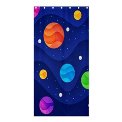 Planet Space Moon Galaxy Sky Blue Polka Shower Curtain 36  X 72  (stall)  by Mariart