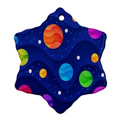 Planet Space Moon Galaxy Sky Blue Polka Ornament (snowflake) by Mariart