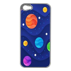 Planet Space Moon Galaxy Sky Blue Polka Apple Iphone 5 Case (silver) by Mariart