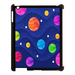 Planet Space Moon Galaxy Sky Blue Polka Apple Ipad 3/4 Case (black) by Mariart