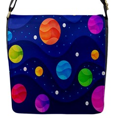 Planet Space Moon Galaxy Sky Blue Polka Flap Messenger Bag (s) by Mariart