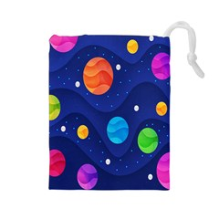 Planet Space Moon Galaxy Sky Blue Polka Drawstring Pouches (large)  by Mariart