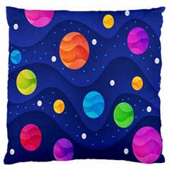 Planet Space Moon Galaxy Sky Blue Polka Large Flano Cushion Case (two Sides) by Mariart