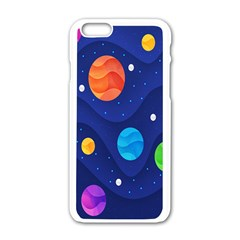 Planet Space Moon Galaxy Sky Blue Polka Apple Iphone 6/6s White Enamel Case by Mariart