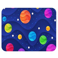 Planet Space Moon Galaxy Sky Blue Polka Double Sided Flano Blanket (medium)  by Mariart