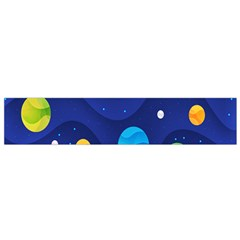 Planet Space Moon Galaxy Sky Blue Polka Small Flano Scarf by Mariart