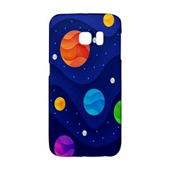 Planet Space Moon Galaxy Sky Blue Polka Galaxy S6 Edge by Mariart