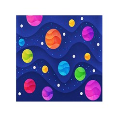 Planet Space Moon Galaxy Sky Blue Polka Small Satin Scarf (square) by Mariart