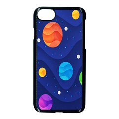 Planet Space Moon Galaxy Sky Blue Polka Apple Iphone 8 Seamless Case (black) by Mariart