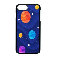 Planet Space Moon Galaxy Sky Blue Polka Apple Iphone 8 Plus Seamless Case (black)
