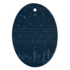 Rain Hill Tree Waves Sky Water Oval Ornament (two Sides) by Mariart