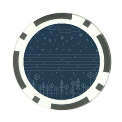 Rain Hill Tree Waves Sky Water Poker Chip Card Guard (10 Pack)
