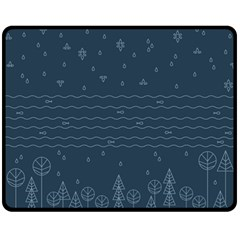 Rain Hill Tree Waves Sky Water Fleece Blanket (medium)  by Mariart