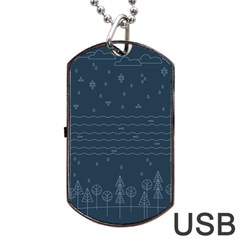 Rain Hill Tree Waves Sky Water Dog Tag Usb Flash (one Side)