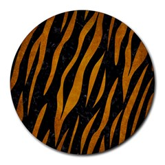 Skin3 Black Marble & Yellow Grunge (r) Round Mousepads by trendistuff