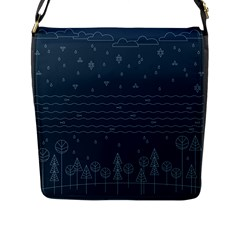Rain Hill Tree Waves Sky Water Flap Messenger Bag (l)  by Mariart