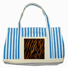 Skin3 Black Marble & Yellow Grunge (r) Striped Blue Tote Bag by trendistuff