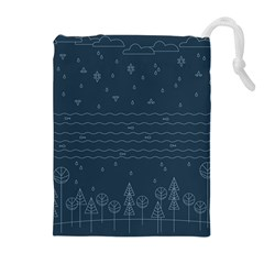 Rain Hill Tree Waves Sky Water Drawstring Pouches (extra Large) by Mariart