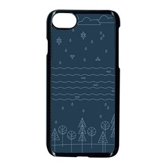 Rain Hill Tree Waves Sky Water Apple Iphone 7 Seamless Case (black) by Mariart