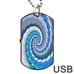 Psycho Hole Chevron Wave Seamless Dog Tag Usb Flash (two Sides) by Mariart