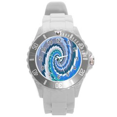 Psycho Hole Chevron Wave Seamless Round Plastic Sport Watch (l) by Mariart