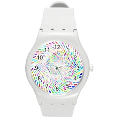 Prismatic Abstract Rainbow Round Plastic Sport Watch (m)