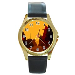 Road Trees Stop Light Richmond Ace Round Gold Metal Watch by Mariart