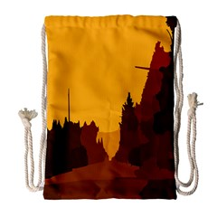 Road Trees Stop Light Richmond Ace Drawstring Bag (large) by Mariart