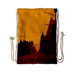 Road Trees Stop Light Richmond Ace Drawstring Bag (small) by Mariart