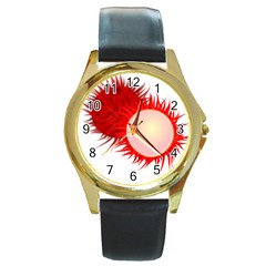 Rambutan Fruit Red Sweet Round Gold Metal Watch by Mariart
