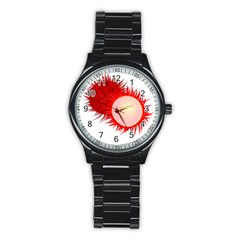 Rambutan Fruit Red Sweet Stainless Steel Round Watch