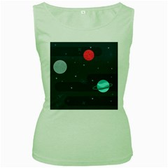 Space Pelanet Galaxy Comet Star Sky Blue Women s Green Tank Top