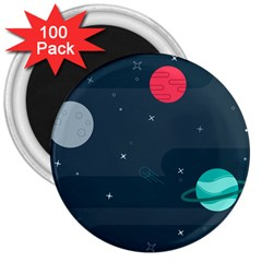 Space Pelanet Galaxy Comet Star Sky Blue 3  Magnets (100 Pack) by Mariart