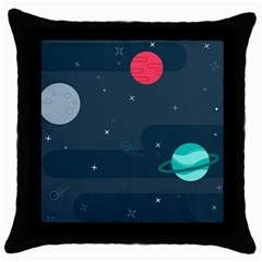 Space Pelanet Galaxy Comet Star Sky Blue Throw Pillow Case (black) by Mariart