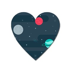 Space Pelanet Galaxy Comet Star Sky Blue Heart Magnet by Mariart
