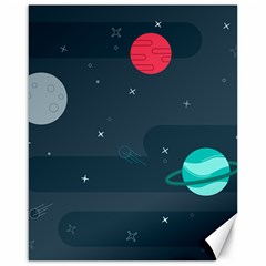 Space Pelanet Galaxy Comet Star Sky Blue Canvas 16  X 20   by Mariart