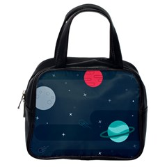 Space Pelanet Galaxy Comet Star Sky Blue Classic Handbags (one Side) by Mariart