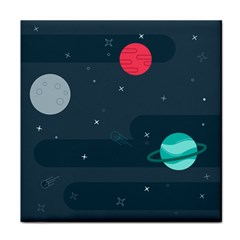 Space Pelanet Galaxy Comet Star Sky Blue Face Towel by Mariart