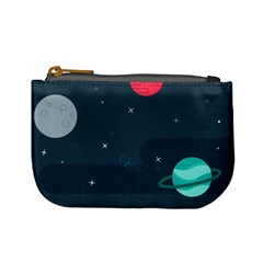 Space Pelanet Galaxy Comet Star Sky Blue Mini Coin Purses