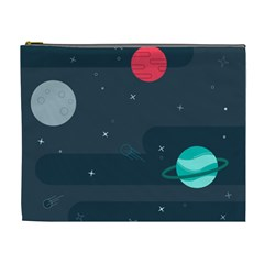 Space Pelanet Galaxy Comet Star Sky Blue Cosmetic Bag (xl)