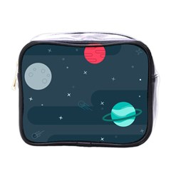 Space Pelanet Galaxy Comet Star Sky Blue Mini Toiletries Bags by Mariart