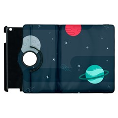 Space Pelanet Galaxy Comet Star Sky Blue Apple Ipad 3/4 Flip 360 Case by Mariart