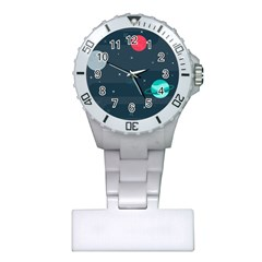 Space Pelanet Galaxy Comet Star Sky Blue Plastic Nurses Watch by Mariart