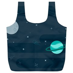 Space Pelanet Galaxy Comet Star Sky Blue Full Print Recycle Bags (l)