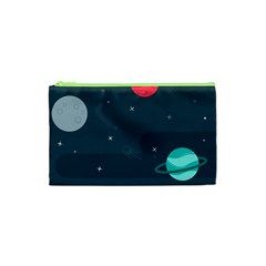 Space Pelanet Galaxy Comet Star Sky Blue Cosmetic Bag (xs) by Mariart