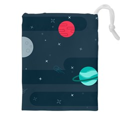 Space Pelanet Galaxy Comet Star Sky Blue Drawstring Pouches (xxl) by Mariart