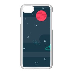 Space Pelanet Galaxy Comet Star Sky Blue Apple Iphone 8 Seamless Case (white)
