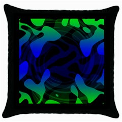 Spectrum Sputnik Space Blue Green Throw Pillow Case (black) by Mariart