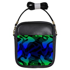 Spectrum Sputnik Space Blue Green Girls Sling Bags by Mariart