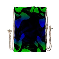 Spectrum Sputnik Space Blue Green Drawstring Bag (small) by Mariart